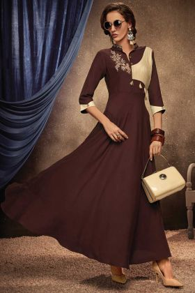 Brown Color Rayon Readymade Gown Online
