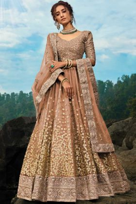 Brown Color Soft Net Embroidery Work Wedding Lehenga Choli