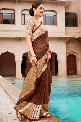 Brown Jacquard Border Cotton Fancy Saree For Women