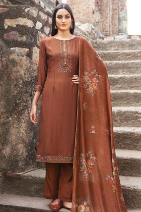 Brown Muslin Embroidery Work Salwar Suit