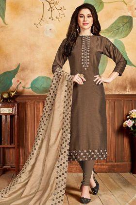 Brown Pandora Silk Churidar Dress