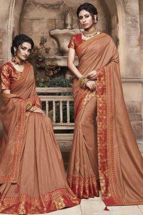 Brown Soft Art Silk Women Saree