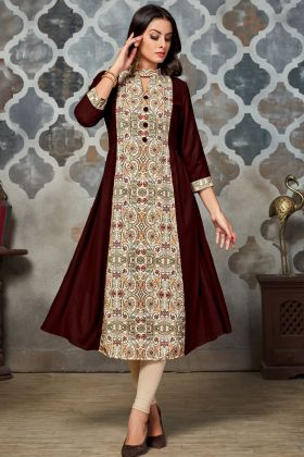 Brown and Cream Rayon Printed Kurti