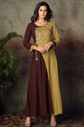 Brown and Pear Green Rayon Gown