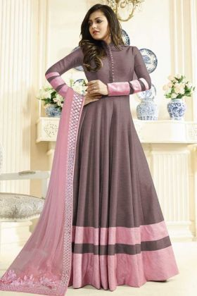 Brown Art Silk Designer Embroidered Salwar Kameez With Soft Net Dupatta