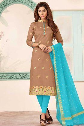 Brown Art Silk Straight Salwar Suit