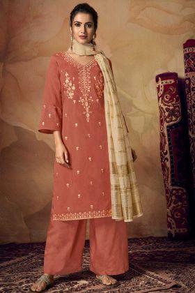 Brown Banarasi Viscose Semi Stitched Palazzo Salwar Suit