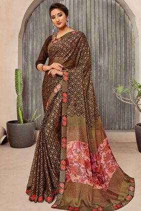 Brown Chiffon Casual Wear Printed Saree
