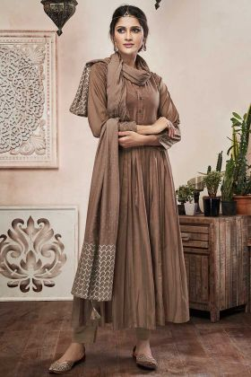 Brown Color Coding Embroidery Work Muslin Straight Dress