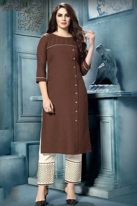 Brown Color Cotton Pair Kurti With Embroidery Work