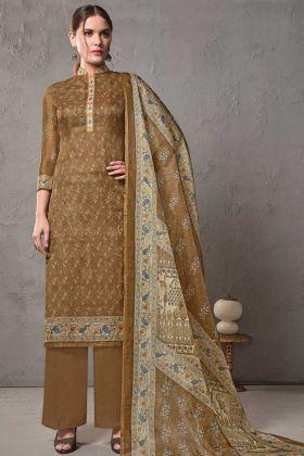 Brown Color Cotton Silk Kota Checks Printed Salwar Suit