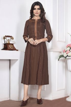 Brown Color Embroidery Work Silk Cotton Designer Kurti