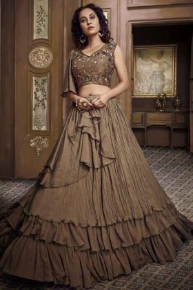 Brown Color Fancy Fabric Party Wear Lehenga Design With Fancy Blouse