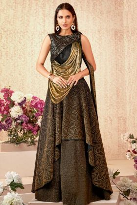 Brown Color Fancy Lycra Festival Lehenga Choli