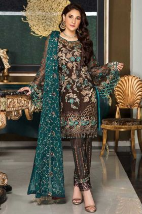 Brown Color Faux Georgette Pakistani Suit With Heavy Embroidery Work