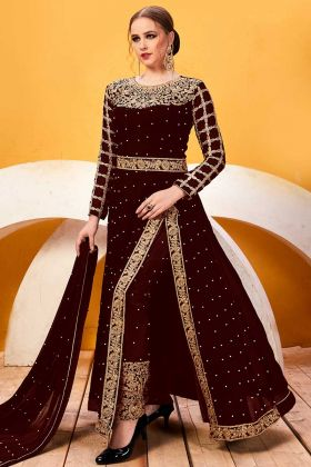 Brown Color Georgette Pant Style Salwar Suit With Embroidery Work
