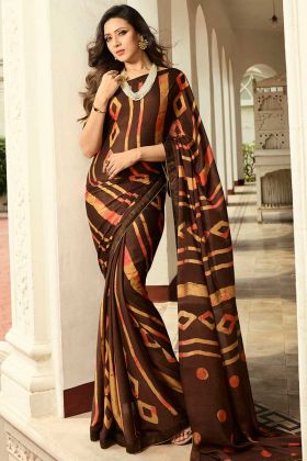 Brown Color Georgette Printed Semi Casual Saree