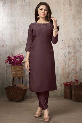 Brown Color Hand Work Muslin Kurti With Pant Set