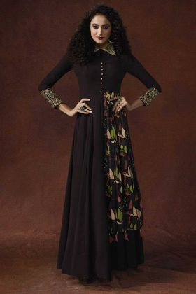 Brown Color Heavy Georgette and Viola Silk Stylish Gown With Resham Embroidery Work