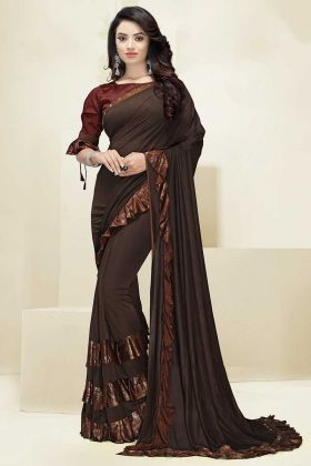 Brown Color Imported Fabric Fancy Ruffle Saree With Foil Print Work