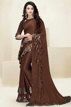 Brown Color Imported Fabric Fancy Ruffle Saree With Swarovski Work