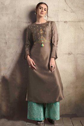 Brown Color Kurti Soft Art Silk With Sea Green Palazzo