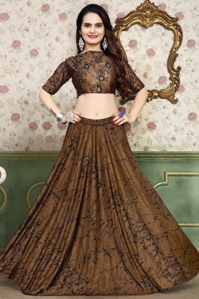 Brown Color Lycra Designer Lehenga Choli With Foil Print Work