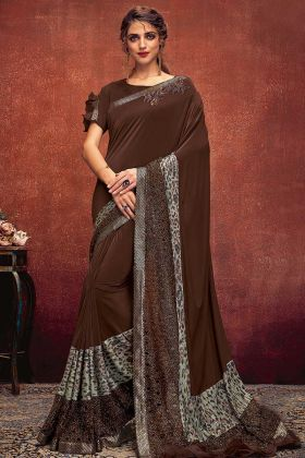 Brown Color Lycra Party Wear Saree With Print Work