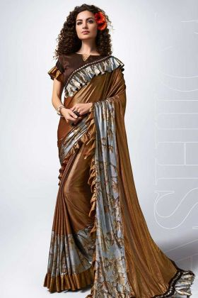 Brown Color Lycra Ruffle Saree With Fancy Lace Border Work