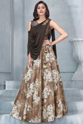 Brown Color Party Wear Lehenga Design