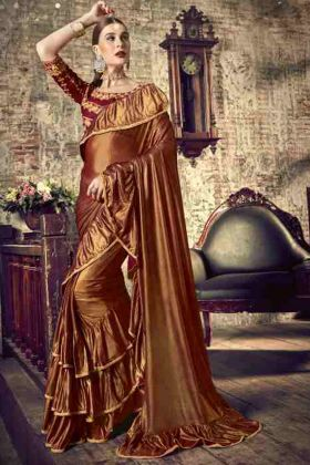 Brown Color Party Wear Ruffel Saree