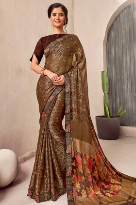 Brown Color Printed Chiffon Simple Saree