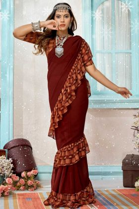 Brown Color Printed Georgette Frill Saree