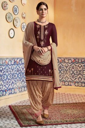 Brown Color Pure Satin Patiala Dress Embroidery Work With Nazneen Dupatta