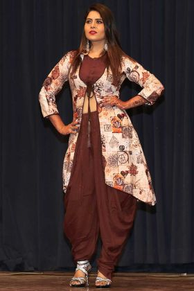 Brown Color Rayon Fancy Kurti With Dhoti Style