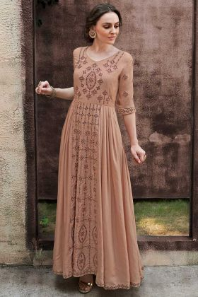 Brown Color Rayon Gold Fabric Designer Gown