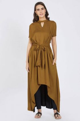 Brown Color Rayon Kurti