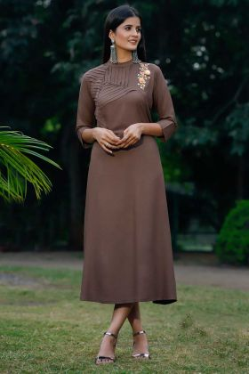 Brown Color Rayon Party Wear Kurti With Thread Work