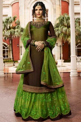 Brown Color Satin Georgette Pakistani Dress With Stone Work