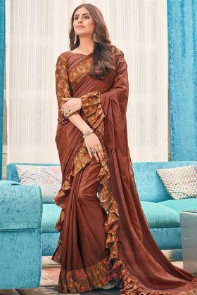 Brown Color Soft Silk Ruffle Wedding Saree