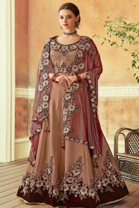 Brown Color Taffeta Silk Lehenga Choli
