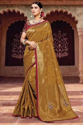 Brown Color Weaved Silk Wedding Saree With Zari Embroidery Work