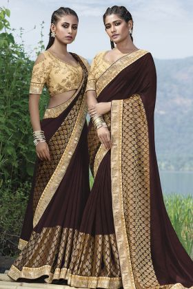 Brown Fancy Art Silk Embroidery Saree