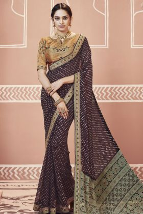 Brown Georgette Bandhani Saree