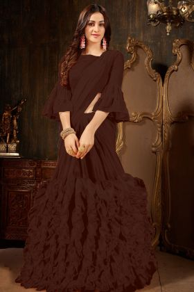 Brown Georgette Ruffle Saree Online
