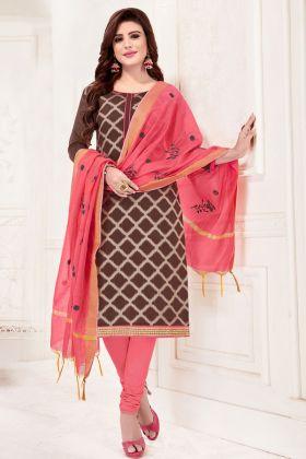 Brown Jacquard Silk Chudidar Salwar Suit
