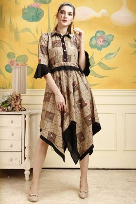 Brown Rayon Fabric Readymade Designer Kurti