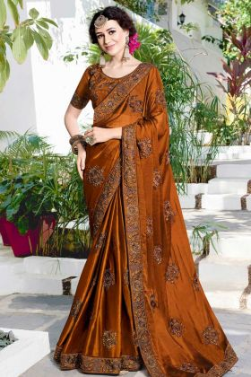 Brown Satin Chiffon Festive Saree