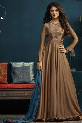 Brown Silky Jenifer Winget Designer Gown