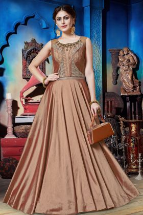 Brown Soft Silk Wedding Gown